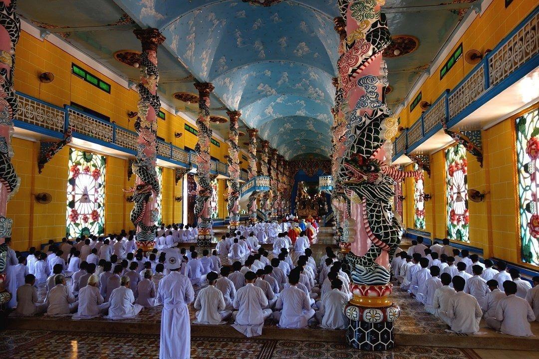 During mass, Cao Dai Temple, Tay Ninh, Vietnam