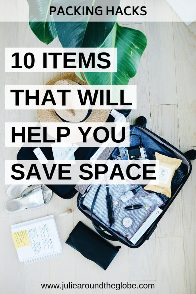 Packing hack: travel items that will make you save space and have a lighter luggage. #travelhacks #packing #travelessentials