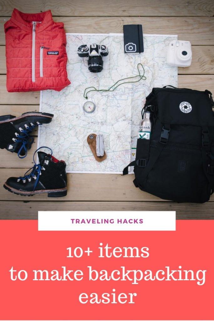 Traveling hacks - items to make backpacking easier. #traveltips #travelhacks #travelessentials