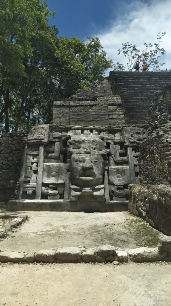The mask temple, maya pyramids, Lamanai ruins, Belize