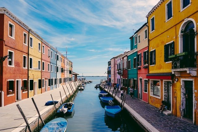 Canal and colorful houses in Burano, Italy